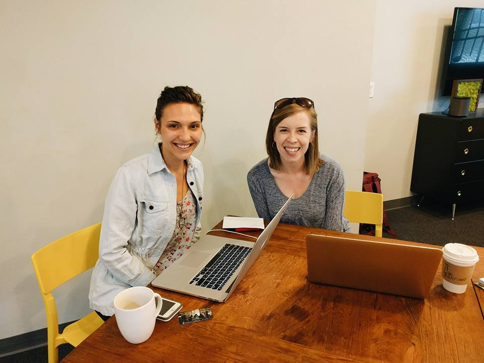 Brandalyn and Haley from Skillpop working together at Hygge